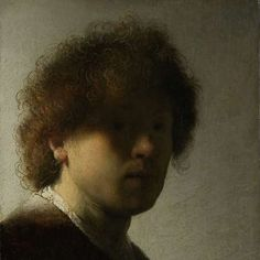 Rembrandt Self Portrait Completed at about age Rembrandt portrays himself in raking light (light which glances diagonally, producing strong shadow). Rembrandt van Rijn, Self-Portrait at an Early Age. Oil on panel, c. by Rijksmuseum, Amsterdam. Chiaroscuro, Rembrandt Self Portrait, Rembrandt Paintings, Rembrandt Art, Rembrandt Etchings, Caravaggio, List Of Paintings, Paintings Famous, Art Paintings
