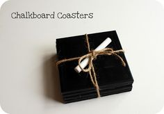 Chalkboard coasters for let over tiles