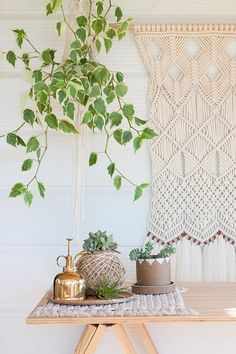 See how this New Zealand interiors expert is putting her own modern spin on macramé. Hanging Wall Art, Hanging Plants, Wall Hangings, Rope Decor, All Plants, Indoor Plants, Rope Crafts, Boho Diy, Weaving Art