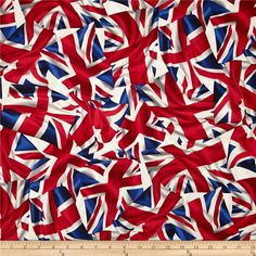 Kanvas Miscellanous Prints London Bridge Flying the Flag Red/White/Blue from @fabricdotcom  Designed by Maria Kalinowski for Kanvas in association with Benartex, this cotton print fabric is perfect for quilting, apparel and home decor accents. Colors include red, white, blue, and grey.