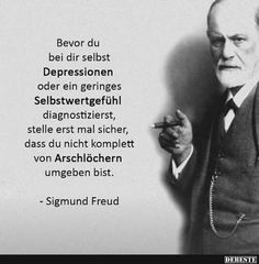 Before you give yourself depression or a minor . Motivational Quotes, Inspirational Quotes, German Quotes, Sigmund Freud, College Humor, True Words, Really Funny, Picture Quotes, Cool Words