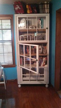 Used Cabinet Doors Craft Projects | AFTER my storage cabinet used Old Windows for doors
