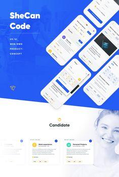SheCanCode - web/mobile on Behance Web Design, Graphic Design, Event Website, User Interface Design, Mobile Design, Mobile Ui, Coding, Concept, Education