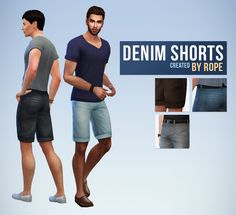 Denim Shorts for the Sims 4. A little something for simsanityx, who asked for it yesterday ! I didn't respond to everyone I think, but I read your ideas don't worry, and don't hesitate if there is a clothing item you need for your sims, you can ask. As explained in my FAQ, I don't promise anything, but if I find the project interesting for my sims, I may do it ! So nothing too complicated this time, I used the same colors on my previous jeans. Available for teen to elder men, with 15 colo...