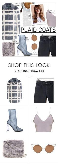 """""""Plaid Coat • 🍢"""" by okolive ❤ liked on Polyvore featuring Shrimps, RE/DONE, Dorothy Perkins and Dita"""
