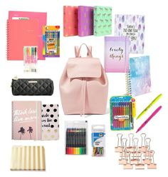 """What's in my backpack"" by eliyanakubelis on Polyvore featuring BIC, Betsey Johnson, Boohoo, Sugar Paper, Kate Spade, Mansur Gavriel, Paper Mate and Swingline"