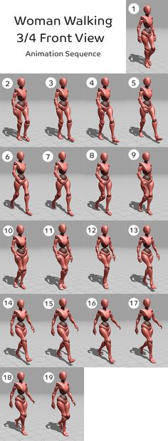 Woman walking -3/4 Front view animation sequence (Mixamo character)