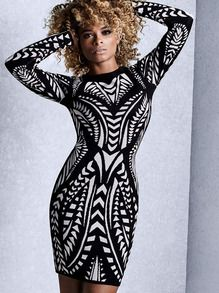 Black White Round Neck Geometric Print Dress US$13.90