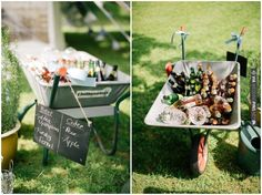 beer + cider in a wheelbarrow = awesome idea at this country garden wedding | Matt Bowen Photography   See the full wedding here: | CHECK OUT MORE IDEAS AT WEDDINGPINS.NET | #weddings #uniqueweddingideas #unique