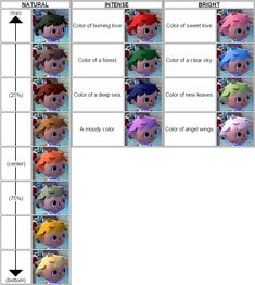 Animal crossing new leaf hair colour guide                                                                                                                                                                                 More