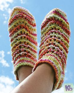 Summer Footies Socks Slippers ~ Free Loom Knitting Pattern ~ Link goes to the page where the pattern can be found for the item in the photograph.