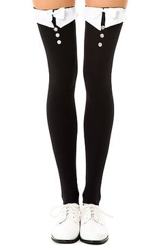 Intimates Boutique Thigh Highs Tuxedo in Black and White - Karmaloop.com