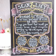 Engagement Chalkboard - pink and gold, pink and gold engagement party decor, couple chalkboard, engagement sign, shabby chic wedding sign - pinned by pin4etsy.com