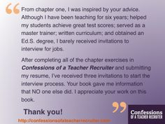 A new review from a reader of Confessions of a Teacher Recruiter!