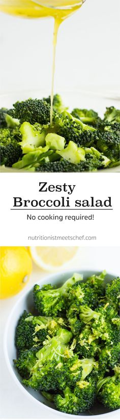 A raw broccoli salad with a lemon & olive oil marinade which softens and tenderises the broccoli.