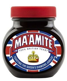 """Love-it-or-hate-it yeast spread Marmite just got a bit more British with the limited edition release of """"Ma'amite"""", a clever pun in honor of Queen Elizabeth II. Complete with a Union Jack and royal crown, the condiment is sure to make an appearance at many tables throughout England this Jubilee. """"Ma'amite"""" is available through Sainsbury's for £2.50."""