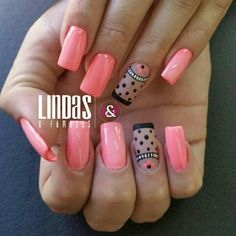 Nails Salmón                                                                                                                                                                                 Más Shellac Nail Art, Nail Polish Art, Nail Polish Designs, Nail Art Designs, Cute Nails, Pretty Nails, Hair And Nails, My Nails, Mo S