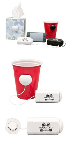 Rock-It 3.0 portable vibration speaker system :: stick to cardboard boxes, appliances, coolers, cups, etc.