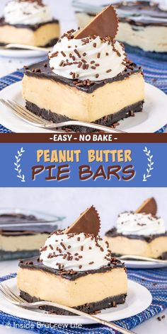 Peanut Butter Pie Bars - a chocolate cookie crust and creamy peanut butter filling make these pie bars taste just like a no bake peanut butter pie! Easy recipe to make for dessert or summer picnics. Peanut Butter Filling, Butter Pie, Creamy Peanut Butter, No Bake Desserts, Easy Desserts, Blondie Bar, Pie Bars, Cookie Crust, Graham Crackers