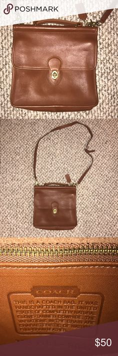Handmade Cowhide Leather Coach SatchelShoulder Bag Perfect Condition, Small Satchel with 1 Closing Compartment and 2 spaces inside Coach Bags Satchels