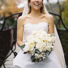 Beautiful white bouquet: http://www.stylemepretty.com/little-black-book-blog/2014/11/26/elegant-fall-birmingham-wedding/ | Photography: Clark Brewer - http://clarkbrewerphotography.com/