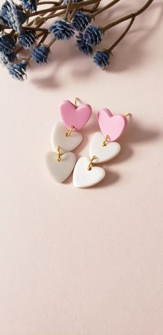 Cute Clay, Clay Design, Pink Love, Baby Room Decor, Handmade Polymer Clay, Instagram Shop, Polymer Clay Earrings, Heart Earrings, Heart Shapes