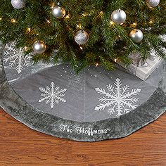 This personalized Christmas Tree Skirt is stunning! It can be embroidered with any family name and it matches our beautiful Christmas stockings too!