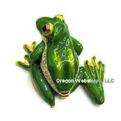 Green Treefrog Enamel Crystal Box $22.50
