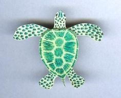 Sea Turtle Brooch by design mosaic. Made from polymer clay. #handmade #jewelry