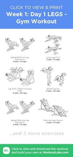 Week 1: Day 1 LEGS - Gym Workout – click to view and print this illustrated exercise plan created with #WorkoutLabsFit