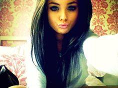 brown hair. make up.