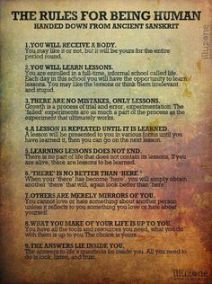Book of Shadows: #BOS The Rules for Being Human page.