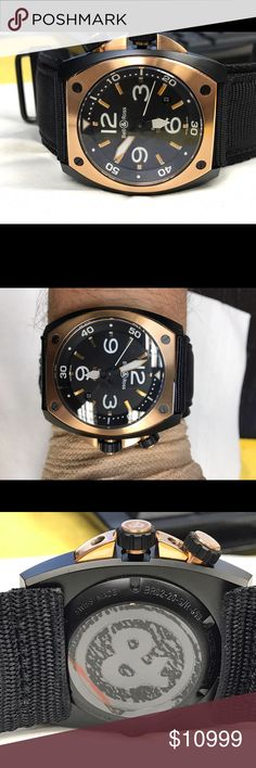 Bell & ross marine  mens watch Brand new display model  stainless steel and rose gold watch. Fabric /canvas band. bell & ross Accessories Watches