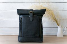 Handmade leather backpack in combination with heavy duty waxed canvas Black Backpack, Leather Backpack, Leather Bag, Black Leather, Waxed Canvas, Canvas Leather, Top Backpacks, Best Bags, Everyday Bag