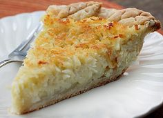 Coconut Custard Pie A delicious pie with the perfect balance of creamy custard and coconut #pie #coconutcustard #homemade