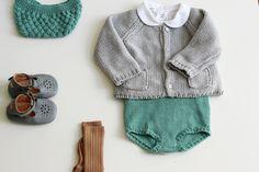 mais um look unissex ultra fofo para os bebês, numa combinação de cores não muito convencional por aqui. cinza, marrom e esse tom de verde (ou seria azul?) fica muito lindo, independente do bebê ser menino ou menina