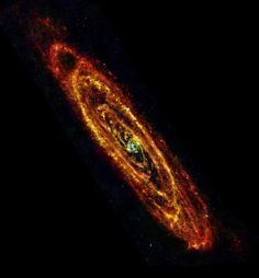 Cool Andromeda 28 January 2013 In this new view of the Andromeda galaxy from ESA's Herschel space observatory, cool lanes of forming stars are revealed in the finest detail yet.