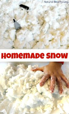 Homemade Snow Dough is THE BEST! A simple 2 ingredients sensory recipe and it's just like real snow. Your kids will love this Snow Dough Recipe it's perfect for Winter Sensory Play or a Winter Animals Preschool Theme. Easy Fluffy Slime Recipe, Diy Fluffy Slime, Making Fluffy Slime, Winter Activities For Toddlers, Christmas Activities, Toddler Activities, Rainbow Activities, Snow Activities, Preschool Winter