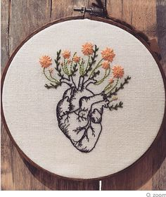 Embroidery Heart Flowers