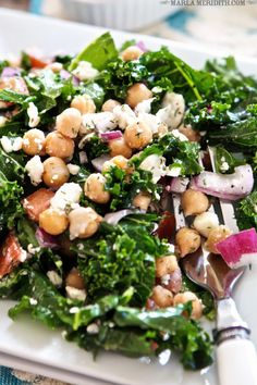 Kale Chickpea Greek Salad | FamilyFreshCooking.com