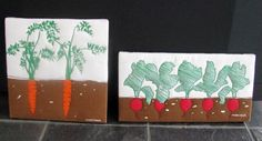 70s Marushka silk screen canvas Print carrots radishes