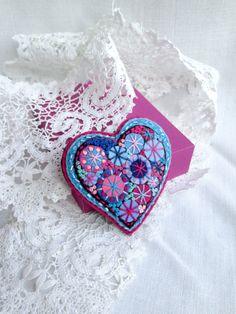 Happy heart.Deep Sky Blue Pink Felt brooch.Hand by SvitLoShop