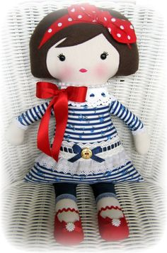 Miss Chloe nautical doll by Flowers, Frills, Buttons & Bows