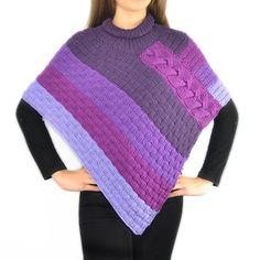 Patrón Poncho Canastera por ErikayBeatrizComMx en Etsy Poncho Knitting Patterns, Knitted Poncho, Crochet Shawl, Baby Knitting, Knit Crochet, Patron Crochet, Crochet Woman, Blouse Designs, Etsy