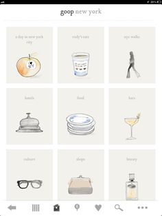 goop App - gwyneth paltrow's blog app with fantastic illustrated icons by Bernadette Pascua