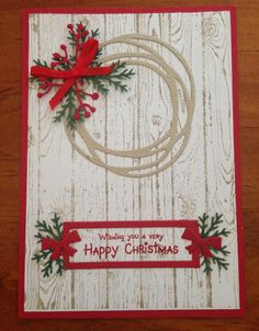 Stampin up swirly scribbles and hardwood Christmas card 2017
