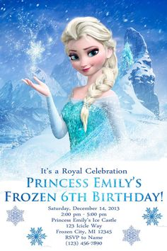 Frozen Birthday Party Invitations Is Amplifying Your Ideas Of Gorgeous Party Invitaions To The Top 5 - 1408 Birthday Party Invitation Wording, Frozen Birthday Invitations, Frozen Birthday Party, 6th Birthday Parties, Birthday Ideas, Birthday Celebration, Invitations Kids, Invitation Ideas, Invitation Templates