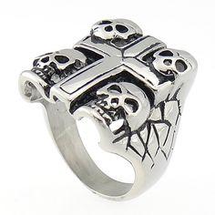 Fingerring, Schädel, Metall