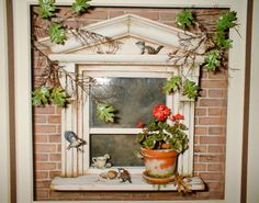 Good Sam Showcase of Miniatures: Dealer Beth Freeman-Kane -  I love what the artist has done here with a framed vignette of a window, flowerpot, visiting birds, chipmunk. This would be so enjoyable to see. There should be a cat inside the window if there isn't one ... ;)