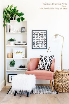 Home decor corner with prints from the Glam Studio Shop on Etsy White pink interior ideas